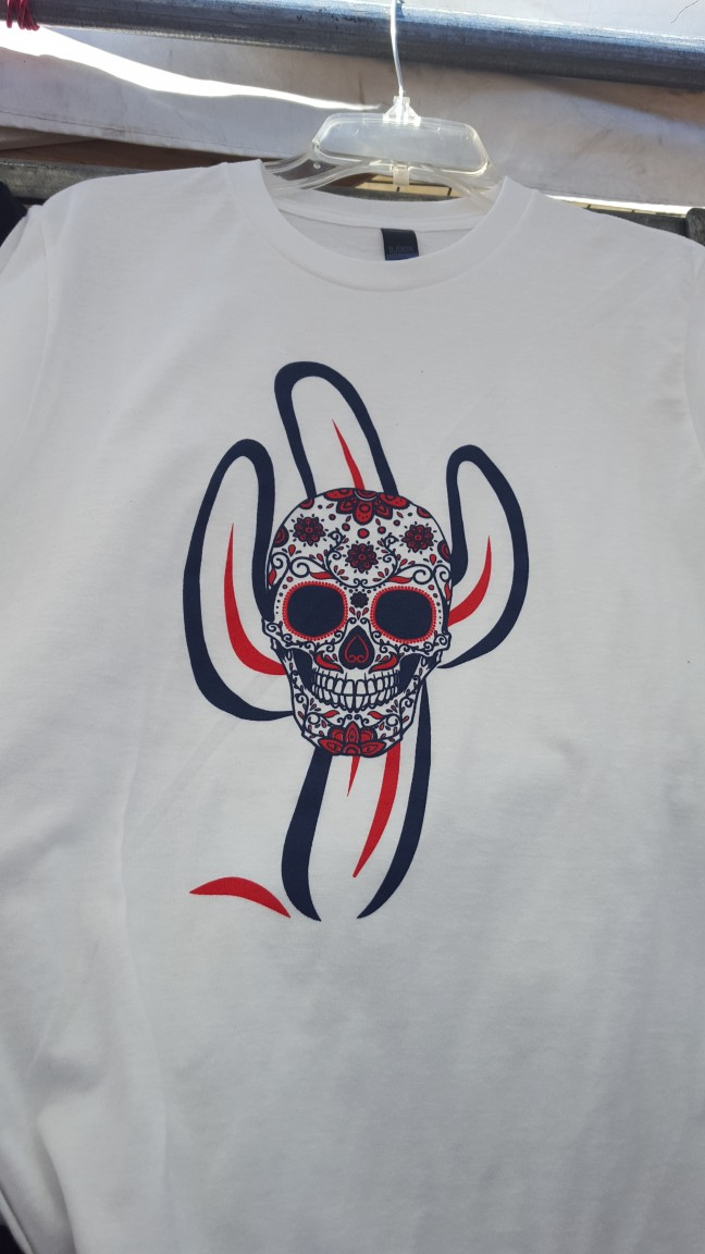 Men's Skull with Saguaro Logo on White Tee Shirt